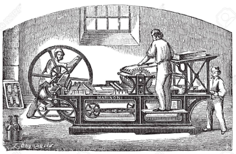 printing press engraving of